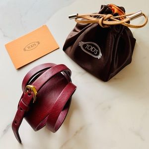 NWT Tod's calfskin leather wrap around bracelet